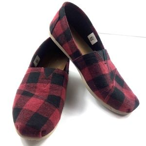 Toms  Black/Red Slip On Plaid Slipon Loafers Sz 11